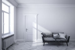 Classic white scandinavian interior with black sofa, wooden floor, door and window. Stock Photography