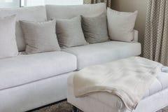 Classic white sofa with pillows Royalty Free Stock Photo