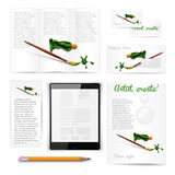 Classic white stationery template. Documentation. Classic white stationery template of brochure, booklet, flyer with brush and paint tube. Documentation for Stock Image