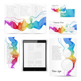 Classic white stationery template. Documentation. Classic white stationery template of brochure, booklet, flyer with rainbow pattern. Documentation for business Stock Images