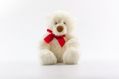 Classic white teddy bear. Royalty Free Stock Images