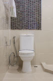 Classic white toilet bowl in bathroom Stock Image