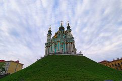 Classic wide-angle view of the Saint Andrew`s Church. Iconic landmark for locals and tourists. Scenic morning landscape view. Kyiv, Ukraine royalty free stock image