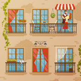 Classic Window Balconies Composition Stock Images
