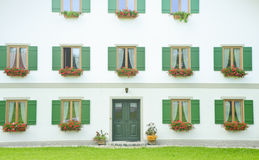 Classic window and door on white wall. royalty free stock photography