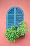 Classic window on red house Royalty Free Stock Photos