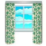 Classic window and view of sky and clouds in frame with beige curtains with floral ornament. Home interior elements. Image in cartoon style. Vector Stock Images
