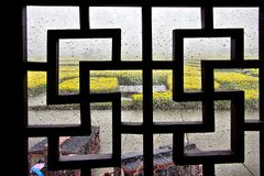 Classic Window With Rape Field View Royalty Free Stock Images