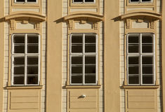 Classic windows and facade of building in Prague Castle. Czech Republic, Europe Stock Image