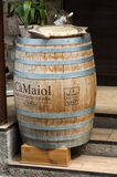 Classic wood barrel in the old town of Sirmione. Garda Lake , Royalty Free Stock Images