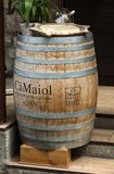 Classic wood barrel in the old town of Sirmione. Garda Lake Stock Photo