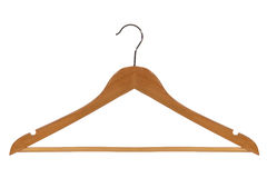 Classic Wood Clothes Hanger Isolated on White Royalty Free Stock Image
