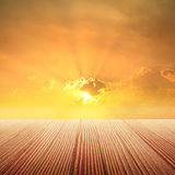 Classic Wood floor and sunset for background Stock Photography