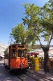 Classic wood tram train of Puerto de Soller in Mallorca, Spain. ( Balearic Islands Stock Photography