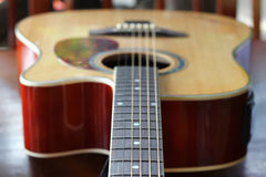 Classic wooden acoustic guitar Royalty Free Stock Photos