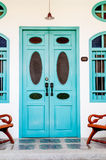 Classic wooden asian style door Stock Photos