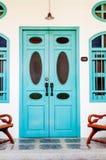 Classic wooden asian style door Stock Photos