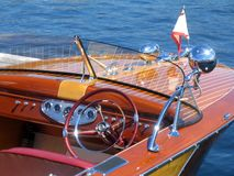 Classic wooden boat. In the Muskoka region of Ontario, Canada Royalty Free Stock Photo