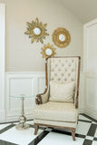 Classic wooden chair in living room Stock Photography