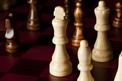 Classic Wooden Chessboard with Chess Pieces Stock Images