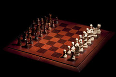 Classic Wooden Chessboard with Chess Pieces Royalty Free Stock Photo