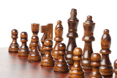 Classic Wooden Chessboard with Chess Pieces Royalty Free Stock Photos