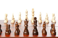 Classic Wooden Chessboard with Chess Pieces Royalty Free Stock Images