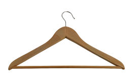 Classic wooden closet hanger with metallic hook Stock Image