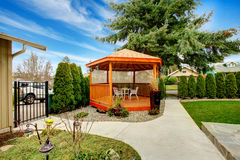 Classic wooden craftsman garden house royalty free stock image