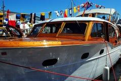 Classic wooden cruiser. A classic wooden cabin cruiser Stock Photos