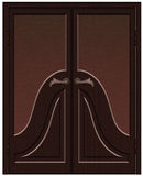 Classic wooden door. Beautiful brown wooden door with glass stained-glass window in the classical style Stock Image