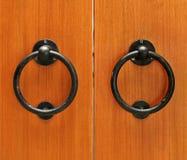 Classic wooden door with handle Stock Image