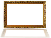 Classic wooden frame isolated on white background Stock Photos