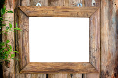 Classic wooden frame on wood wall Stock Photo