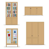 Classic wooden Interior set with isolated cupboard, bookshelf, wardrobe and cabinet. Royalty Free Stock Image