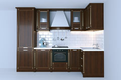 Classic wooden kitchen interior with white flooring 3d render Stock Photography