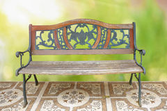 Classic wooden long chair Stock Image