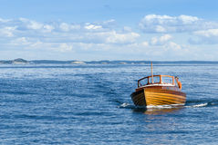 Classic wooden motorboat Stockholm archipelago Royalty Free Stock Photography