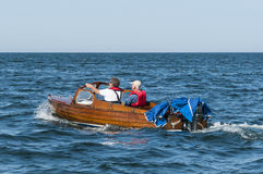 Classic wooden motorboat sweden Stock Photos