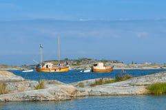 Classic wooden motorboats Stora Nassa Stockholm archipelago Stock Photo