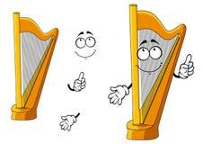 Classic wooden musical cartoon harp character Stock Image