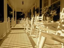 Classic Wooden Plank Front Porch Stock Image