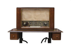 The classic wooden radio on the table made from sawing machine Stock Photography