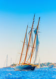 Classic wooden sailing boat stock photography