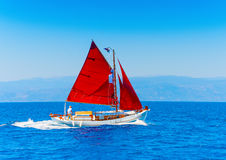 Classic wooden sailing boat Stock Photo