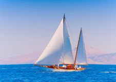 Classic wooden sailing boat Stock Image