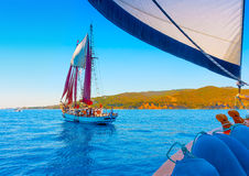 Classic wooden sailing boat Royalty Free Stock Images