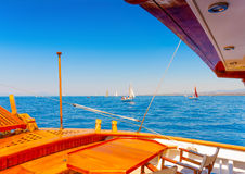 Classic wooden sailing boat Royalty Free Stock Photo