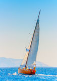 Classic wooden sailing boat Stock Images