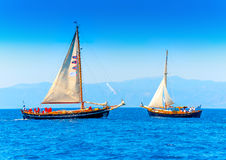Classic wooden sailing boats Stock Images
